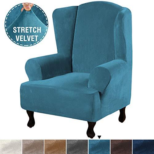 H.VERSAILTEX 1 Piece Super Stretch Stylish Furniture Cover/Wingback Chair Cover Slipcover Featuring Velvet Plush Fabric, Modern High Stretch Rich Velvet Slipcover (Wing Chair, Peacock Blue)