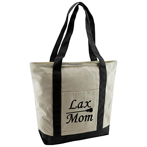 Women's Lax Mom Cotton Canvas Lacrosse Tote Bag by Magnetic Impressions