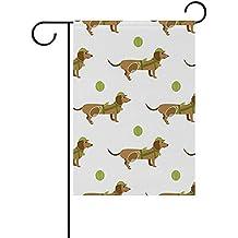 "Starboston Cartoon Sport Dachshund Dogs Garden flag 12""X18"" Two Sided Yard Decoration Polyester Outddor Flag"