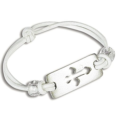 First Communion White Stretch Bracelet with Cross (Prayer Bread Bracelet compare prices)