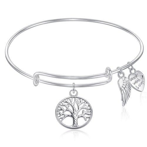 Tree of Life Expandable Wire Bangle Bracelet with Angel Wings Charm Silver Finish GIFT BOXED