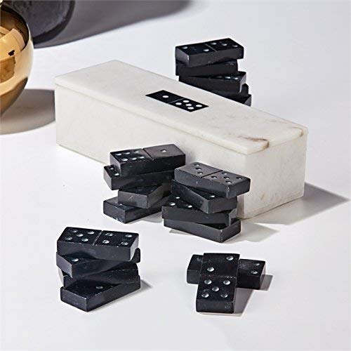 Two's Company Blanc Domino Set Covered 28 Piece Marble Storage Box