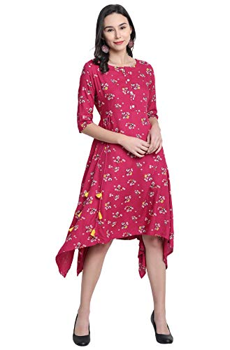 Janasya Women's Pink Rayon Western Dress