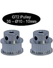 2 poleas GT2 con 10 mm de ancho 12, 16, 18, 20, 24, 26, 28, 30, 32, 36, 40 o 60 dientes.