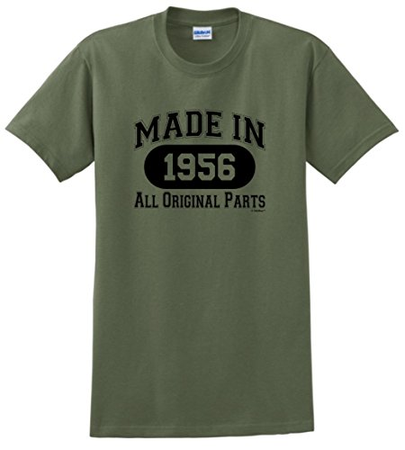 60th Birthday Gifts for Dad 60th Birthday Gift Made 1956 All Original Parts T-Shirt 2XL Military Green