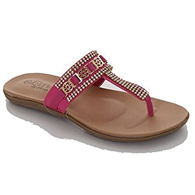 e2eeada6431 Ladies Diamante Strap Gold Buckle Comfortable Summer Thong Sandals Shoes   Pink