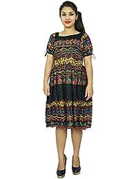Rayon Dress Abstract Printed Women Sundress Mid-Calf Summer Maxi