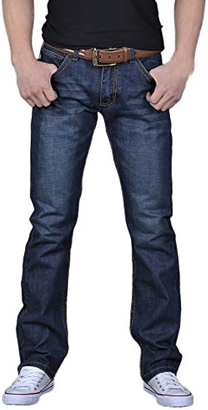 Męskie Jeans Gerader Schnitt Lässig Aus Wesentlich Baumwolle Denim Herbst Męskie Arbeitshose Hip Hop Männer Mode Vintage Casual Hosen (Color : Blau, Einheitsgröße : 29W): Odzież