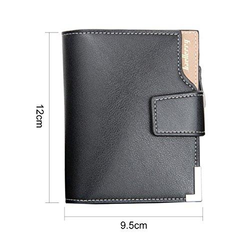 BYD Hombres Moda Multi - Funcion De Negocios Billetera Monedero Billetera De Cuero tarjetas multi del organizador negro