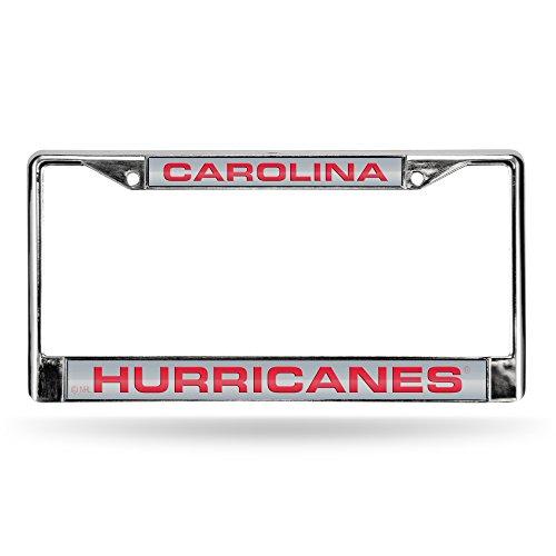 Rico Industries NHL Carolina Hurricanes Laser Cut Inlaid Standard License Plate Frame, Chrome, 6