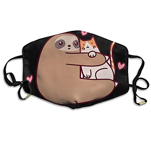 Sloth And Cat Fall In Love Unisex Face Mask Ear-loop Germ Dust Protection Mask Cycling Reusable Mask ()