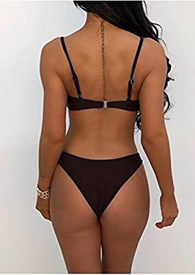 Symptor Women's Sexy Strappy Scoop Neck Cut Out High Waist Cheeky Swimsuits Bikini Sets