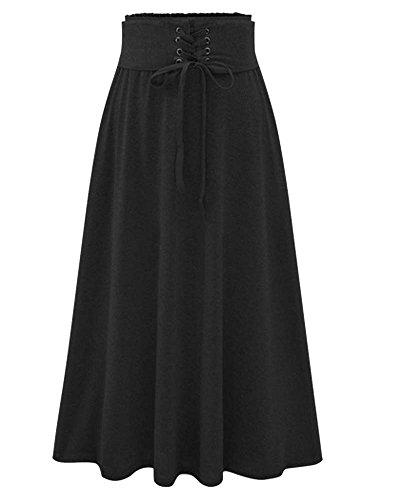 Femme Jupe Longue Jupe Replient Style Rtro Vintage Taille Haute Bande Nou Devant Noir