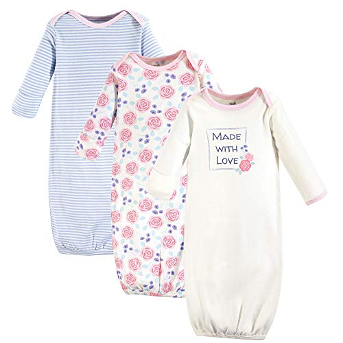 Touched by Nature Baby Organic Cotton Gown, Pink Rose 3-Pack, 0-6 Months ()