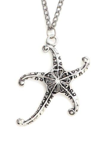 (Magic Metal Starfish Necklace Aquatic Sea Star Coral Reef Silver Tone NJ30 Ocean Mermaid Pendant Fashion Jewelry)
