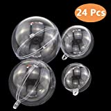 ISusser 24pcs Clear Plastic Fillable Ball Ornament, DIY Plastic Ball, Bath Bomb Crafting Mold, Christmas Wedding Party Decor