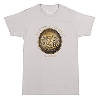 HBO'S Game of Thrones Men's Winter Is Coming Circle T-Shirt - Light Grey (Small)