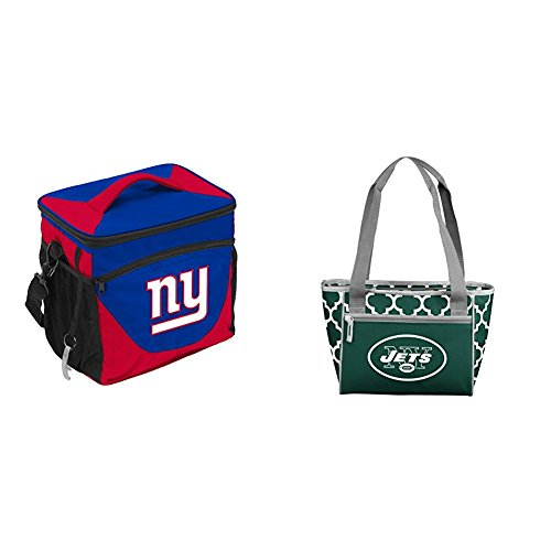 Logo Brands NFL New York Jets 24 Can Cooler & 16 Can Cooler Tote