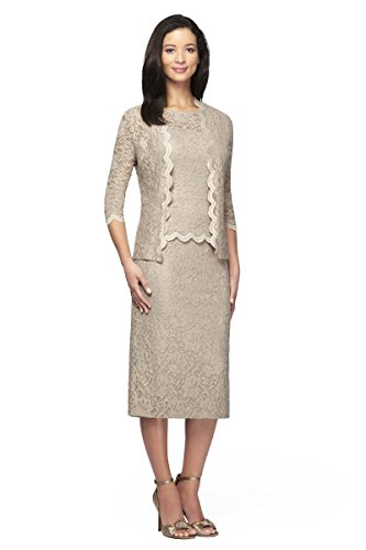 Alex Evenings Women's 2 pc lace T-length mock jacket dress