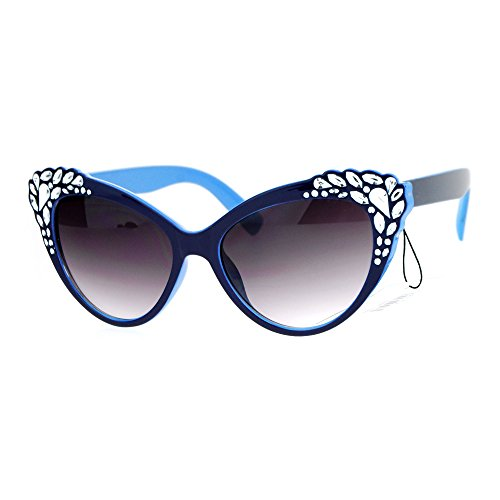 SA106 Womens Rhinestone Iced Out Bling Cat Eye Fashion Sunglasses Blue
