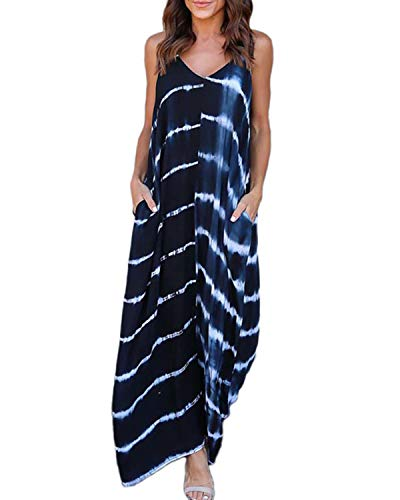(Kidsform Sleeveless Maxi Dresses for Women Stripe Floral Bohemian Casual Loose V Neck Spaghetti Straps Adjustable Dress Summer Party Beachwear Plus Size with Pockets C-Dark Blue Large)