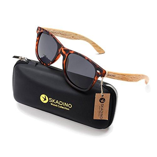 SKADINO Beech Wood Sunglasses for Women&Men with Polarized Lens Handmade Wooden Arms-Tortoise shell Grey Lens - Tortoise Men Sunglasses Shell
