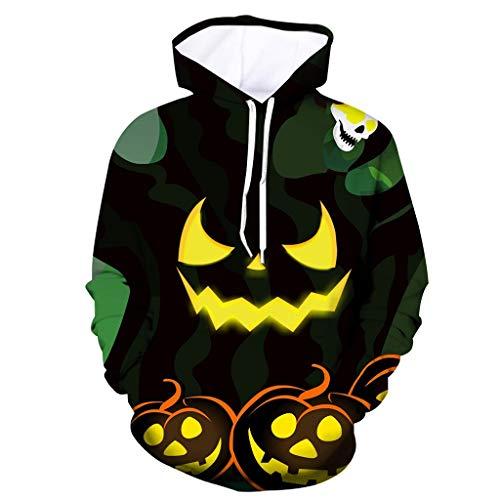 13 Ugly Men Halloween Party (Mens Tops Halloween Pumpkin 3D Print Hooded Party Long Sleeve Hoodie)