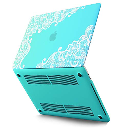 Kuzy - MacBook Pro 15 inch Case 2019 2018 2017 2016 Release A1990 A1707, Hard Plastic Shell Cover for Newest MacBook Pro 15 case with Touch Bar Soft Touch - Lace Teal