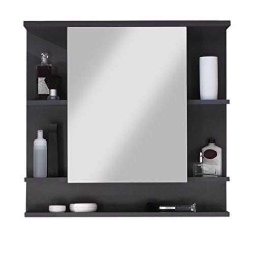 trendteam smart living Badezimmer Spiegelschrank Spiegel Tetis, 72 x 76 x  20 cm in Korpus Graphit ( Dunkelgrau), Front Hochglanz Weiß mit viel ...