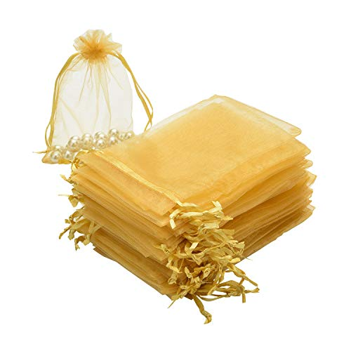 - SHEING 100pcs Sheer Organza Bags Jewelry Pouches Wedding Party Valentine Christmas Favor Drawstring Gift Bags (Gold, 3 x 4 Inch)