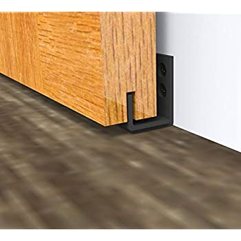 Nice DIYHD Black Wall Mount Adjustable Sliding Barn Door Floor Guide