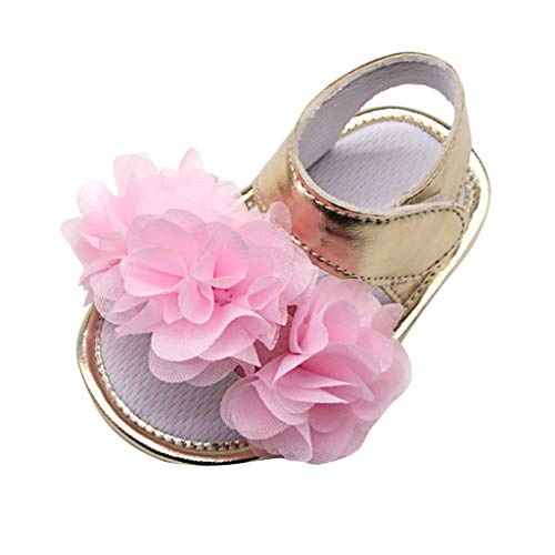 LIM&Shop Baby Girls Sparkling Mary Jane Shoes Soft Anti-Slip Sole Ball Soft Sequins Crib Dress Shoes with Flower Pink