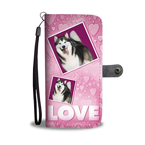 Alaskan Malamute Dog with Love Print Wallet Mobile Phone case Cover for iPhone 6 Plus / 6s Plus / 7 Plus/iPhone x / 8 Plus/iPhone xr ()