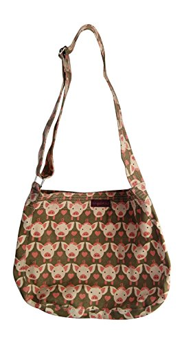 Bungalow360 Vegan Cotton Canvas Messenger Bag (Pig)