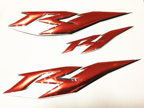 3d Red Chrome with Red Raised Sticker Decal for Yamaha YZF R1