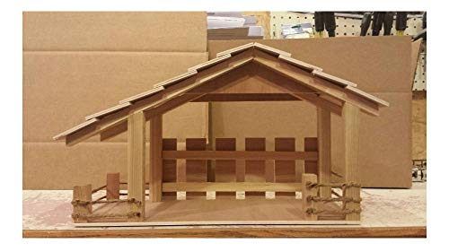 Handmade Wooden Christmas Manger,Stable,Nativity with Light for $<!--$113.03-->
