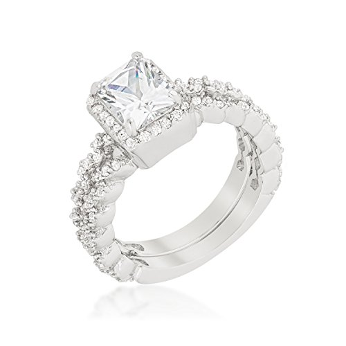 Rhodium Plated Wedding Set Featuring Halo Style Engagement Ring with Radiant Cut Center Size (Radiant Cut Center)