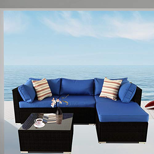 Patio Sofa Furniture Garden Rattan Couch 5pcs Outdoor Sectional Sofa Conversation Set Royal Blue Cushion Black Wicker (Outdoor Clearance Sectional)