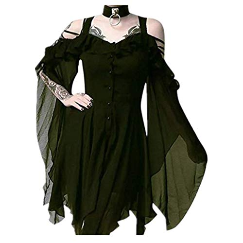 TWGONE Plus Size Gothic Dresses for Women Special Occasion Dark in Love Ruffle Sleeves Off Shoulder Midi Dress(X-Large,Green) ()