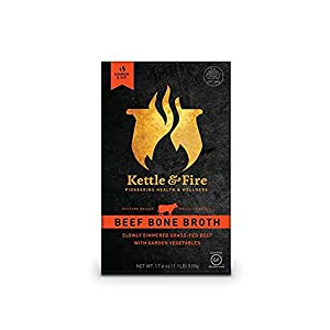 Beef Bone Broth by Kettle & Fire - 100% Grass-fed, Organic, Collagen-rich Beef Bone Broth, 16.2 Ounce, 6 Count