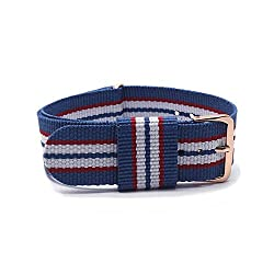 BINZI 20mm Nylon Canvas Rose Gold Buckle Watch Band Strap,Replacement Fabric Band Blue-Red-White