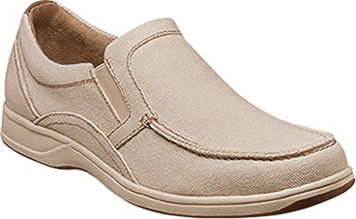 Scarpa Slip-on Florsheim Mens Lakeside Moc Toe Canvas Naturale / Pelle Scamosciata / Pelle