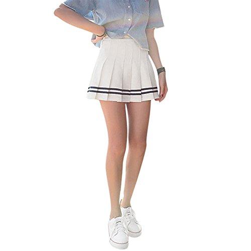 EFINNY Women's Tennis Striped Pleated Mini Skirt High Waist School Skater Shorts -