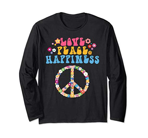 Love Peace Happiness T-Shirt Cool Hippie Costume Hippy Tee]()