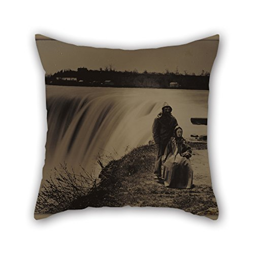 Oil Painting Attributed To Henry Hollister (Canadian, Active About 1840 - 1860) - Couple At Niagara Falls In Waterproofs Pillowcase Best For Kitchen Kids Room Dance Room Seat Monther Boys - In Stores Niagara Falls