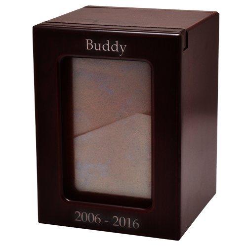 Engravable Pet Memorial Photo Cremation MDF Urn (Medium, Cherry - Engraved - Vertical Display)