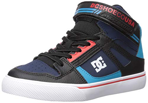 DC Boys' Pure HIGH-TOP EV Skate Shoe Blue/Black/RED 2.5 M M US Little Kid ()