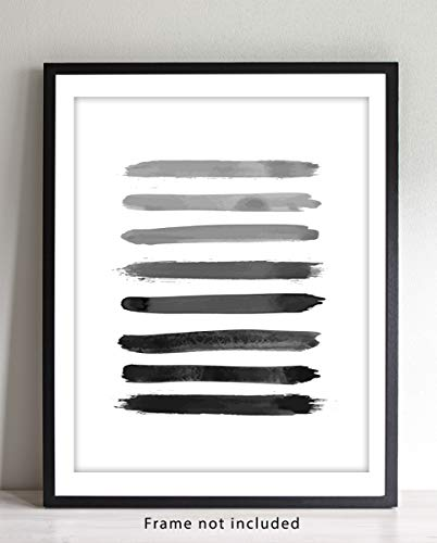 Black, Gray and White Abstract Contemporary Wall Art | 11x14 UNFRAMED Print | Modern Mid Century Wall Decor.
