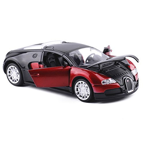 Yepmax Car Toys 1:32 Red Bugatti Sound and Flash Model Car