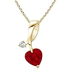 July Birthstone - Twisted Heart Shaped Ruby Necklace with Diamond